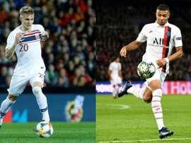 Odeggard e Mbappé jogarão em sua futura casa. EFE/AFP
