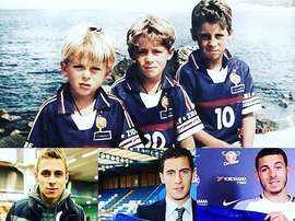 The three Hazard brothers at Chelsea. Twitter/Memedeportes