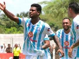 Los jugadores de Alianza Atlético de Sullana celebran un tanto ante UTC Cajamarca. Twitter