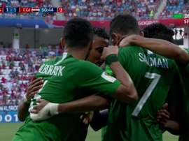 Saudi Arabia equalised from the penalty spot. Screenshot/DirecTV