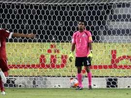 Los jugadores de Catar celebran uno de los tantos marcados, ante la mirada de impotencia del portero de Maldivas. Twitter
