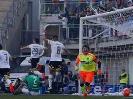 Los jugadores de Colo Colo celebran uno de los goles logrados ante Audax Italiano. EFE/EPA