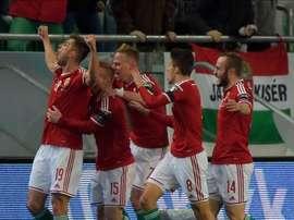 Los jugadores de Hungría celebran un tanto ante Noruega. AFP