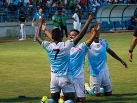 Los jugadores de Jaguares celebran uno de los tantos anotados a Águilas Doradas. Twitter