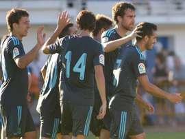 Los jugadores de la Real celebran el tanto de Juanmi. RealSociedad