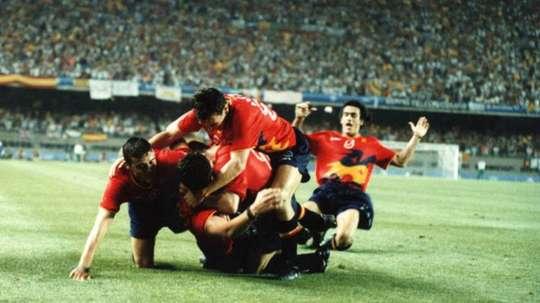 Los jugadores de la Selección Española celebran un tanto en los Juegos Olímpicos de Barcelona.
