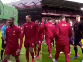 There was no pre-match handshake between Liverpool and Bournemouth. Captura/DAZN