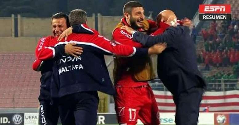 Malta se impone en el duelo isleño a las Feroe. Captura/ESPN