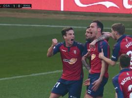Unai García valide le bon début de match d'Osasuna contre le Real Madrid. Capture/Movistar+LaLiga