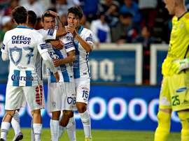 Los jugadores de Pachuca celebran uno de los goles ante León. ESPN