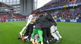 The late winner sent the Uruguay team and fans wild. Screenshot/LRT