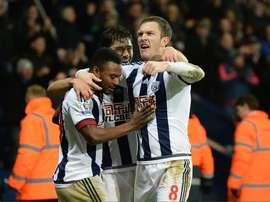 Los jugadores de WBA celebran el gol de Evans ante el Stoke. Twitter