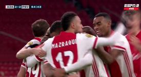 El Ajax empató. Captura/ESPN2