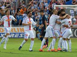 Los jugadores del Alavés celebran el tanto de Kiko Femenía. Twitter