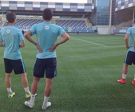 Los jugadores del Athletic Club, durante su último entrenamiento en Azerbayán. Athletic-Club