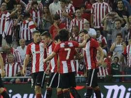 Los jugadores del Athletic Club celebran el tanto que les daba la victoria y el pase. Twitter