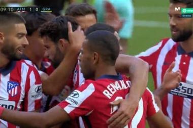 Atlético celebrate their first goal of the season. Screenshot/MovistarLaLiga