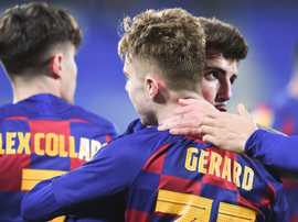 Gerard, aún juvenil, se estrenó con el Barça B, pero no sirvió. FCBarcelonaB