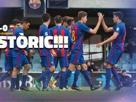 Los jugadores del Barcelona B han conseguido una goleada histórica. FCBmasia