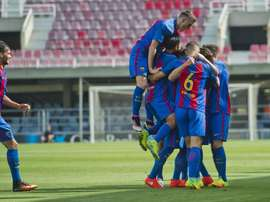 Los jugadores del Barcelona celebran uno de los tantos ante el Celtic en la Youth League. FCBarcelona