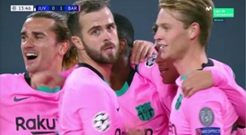 Barca players celebrate Dembele's goal. Screenshot/MovistarLigadeCampeones