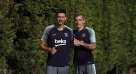 El nuevo jugador del Barça se ha unido al entrenamiento. FCBarcelona