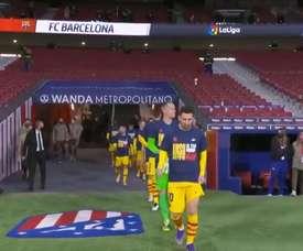The Barca players showed support for Ansu Fati. Screenshot/BarcaTV