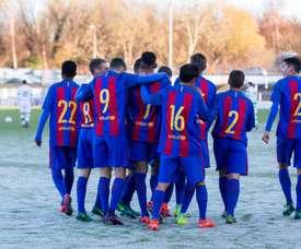 Los jugadores del Barcelona Sub 19 celebran el triunfo ante el Celtic Sub 19. FCBMasia