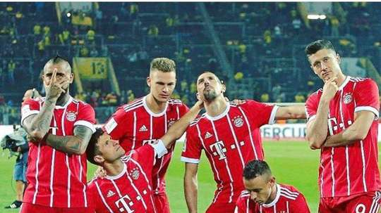 Bayern celebrate their win over Dortmund in the German Super Cup. Twitter