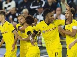 Borussia Dortmund celebrating the turn around against Odd Grenland. Twitter