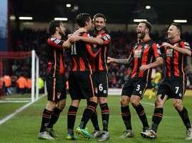 Los jugadores del Bournemouth celebran los goles de la tarde contra el Norwich. Twitter