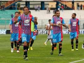 Los jugadores del Calcio Catania, al finalizar un partido de la pasada temporada. Twitter