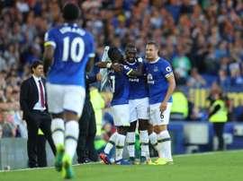 Los jugadores del Everton celebran uno de los goles ante el Middlesbrough. Everton
