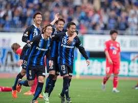 Los jugadores del Gamba Osaka celebran un gol. Twitter