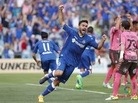 Les joueurs de Getafe célèbrent le but de la victoire contre Tenerife. LaLiga