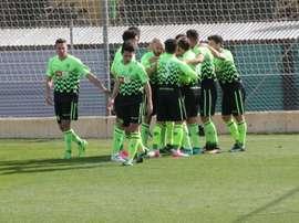 Los jugadores del Hércules celebran uno de los goles ante el Deportivo Aragón. Twitter/CFHércules