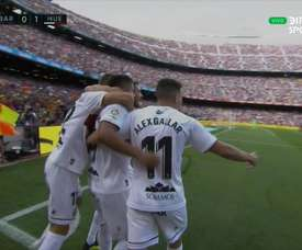 Huesca open the scoring at the Camp Nou. Twitter/DIRECTTVSports