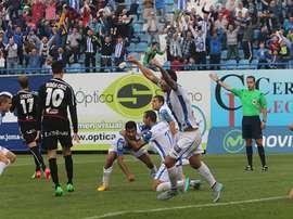 Los jugadores del Leganés celebran el tanto de la victoria ante el Albacete. DeportivoLeganes