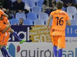 Los jugadores del Llagostera celebran el pase a dieciseisavos de la Copa del Rey. Twitter