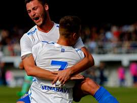 Los jugadores del Málaga juvenil celebran uno de los goles ante el Barcelona. RFEF