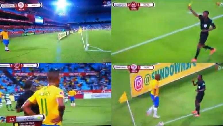 Cinco jugadores del Mamelodi Sundowns vieron amarilla. Capturas/Sopitas