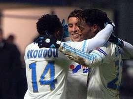 Los jugadores del Marsella celebran el gol de Barrada. Twitter