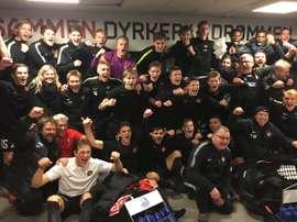 Los jugadores del Midtjylland Sub 19 celebran la victoria ante el Málaga. FCMidtjylland