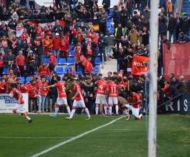 El Murcia cerró una goleada memorable gracias a un doblete de Chrisantus. RealMurciaCFSad