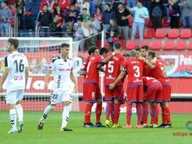 Los jugadores del Numancia celebran uno de los tantos ante el Albacete. LaLiga