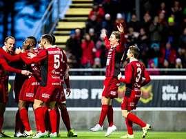 Los jugadores del Ostersunds celebran un tanto. Ostersunds