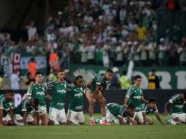 Los jugadores del Palmeiras en una tanda de penaltis.