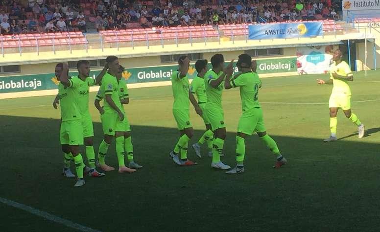 El canario consiguió sus primeros tres goles de la temporada. Twitter/FCBarcelonaB