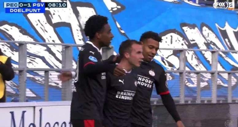 Götze tardó nueve minutos en estrenarse con el PSV. Captura/FOXSports