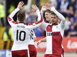 Los jugadores del Rangers celebran uno de los goles logrados ante el Dundee. SkySportsScotland